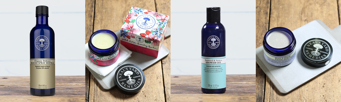 Neals Yard products, including Wild Rose Beauty Balm