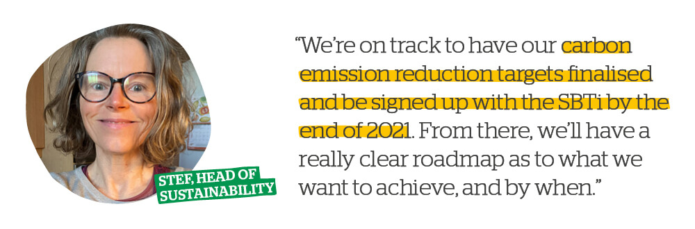 Quote: We're on track to have our carbon emission reduction targets finalised