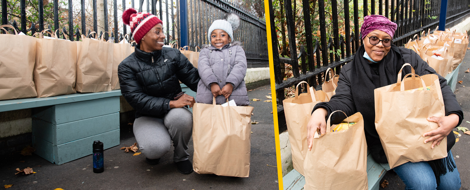 Smiling parents with bags of food