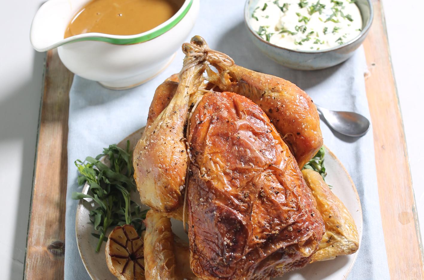 Roast Chicken with Tarragon Crème Fraîche Sauce