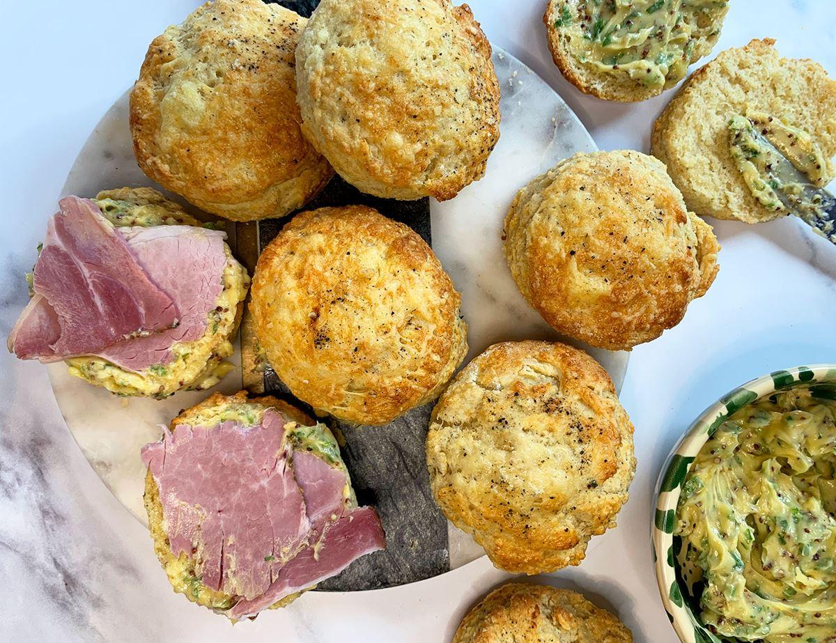 Buttermilk Cheddar Scones with Ham