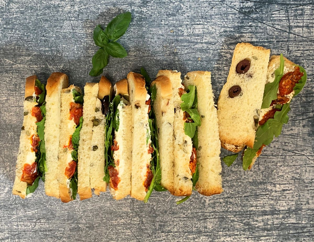 Goat's Cheese, Roasted Tomatoes & Basil Finger Sandwiches