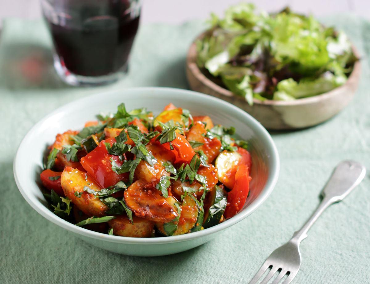 Greek New Potato, Pepper & Courgette Pan-Fry