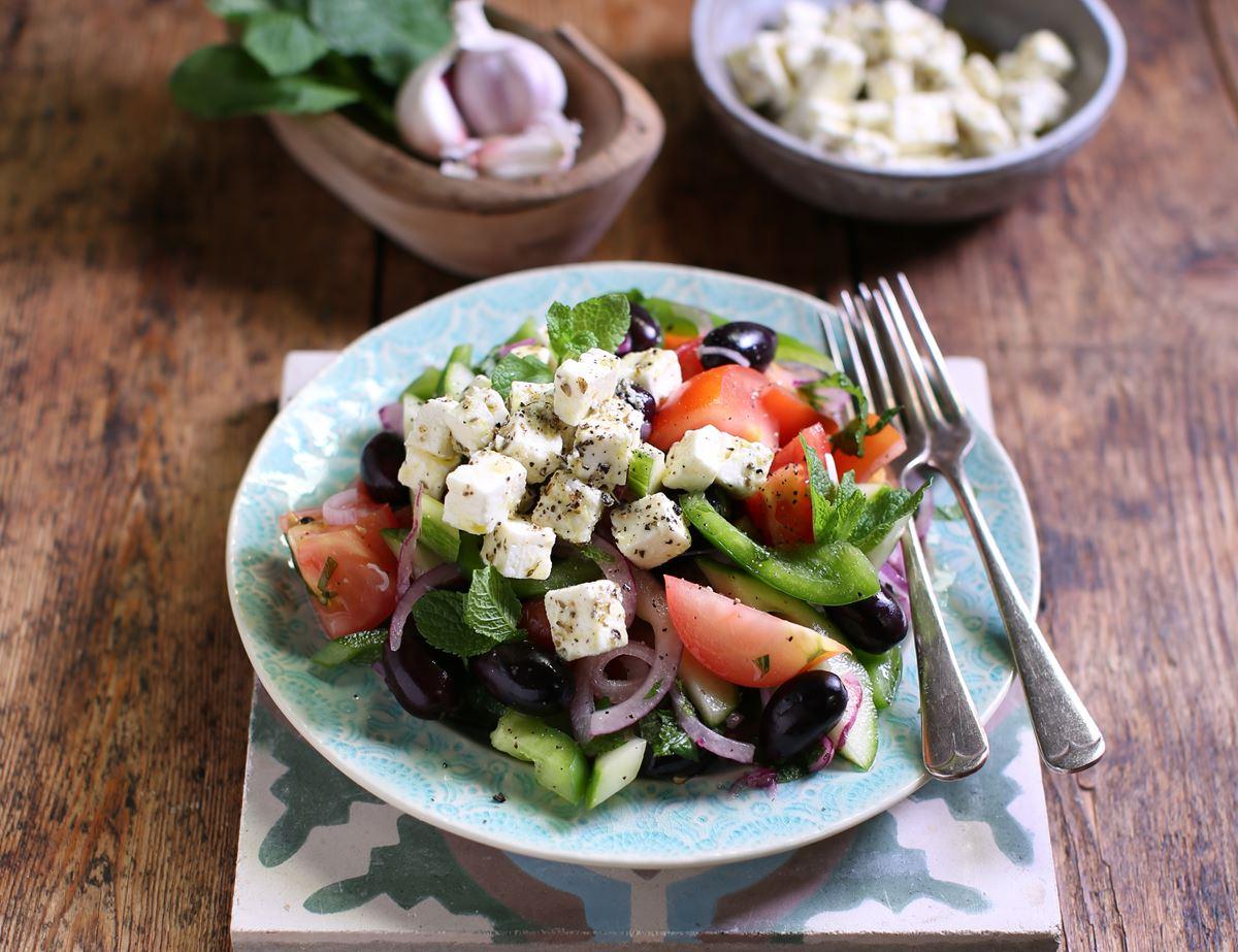 Greek Salad with Marinated Feta