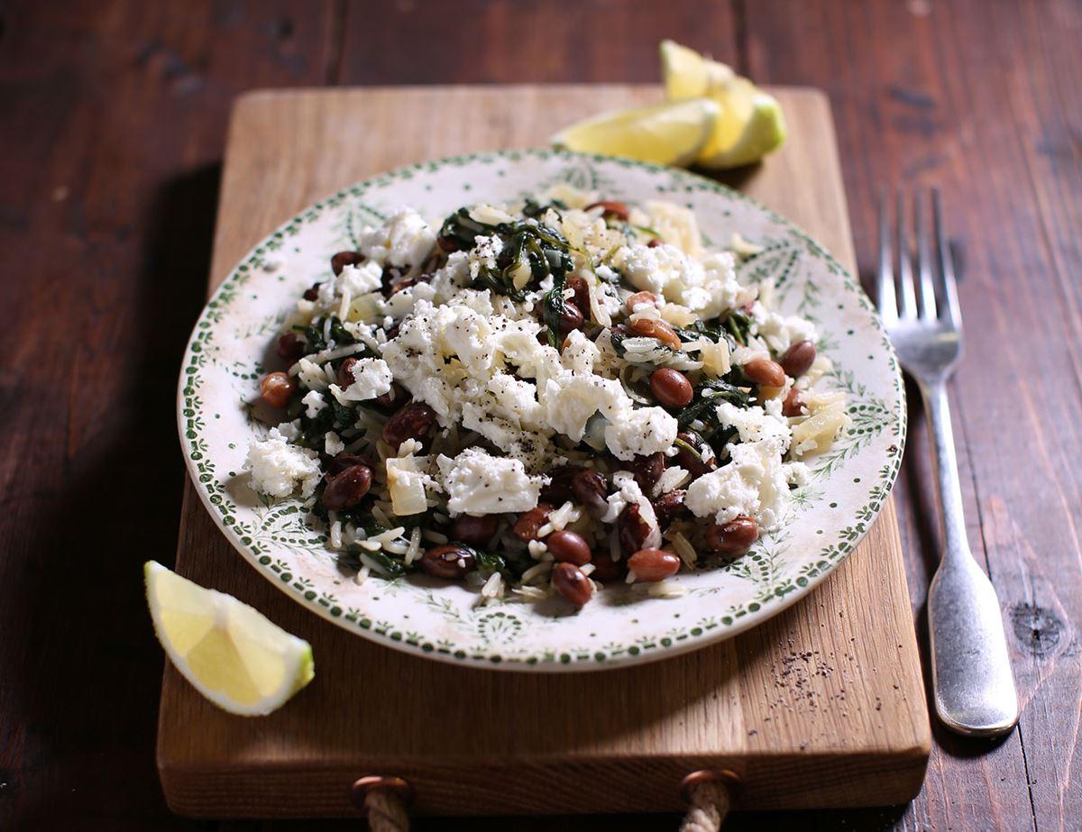 Greek Spinach, Borlotti Beans and Feta Rice