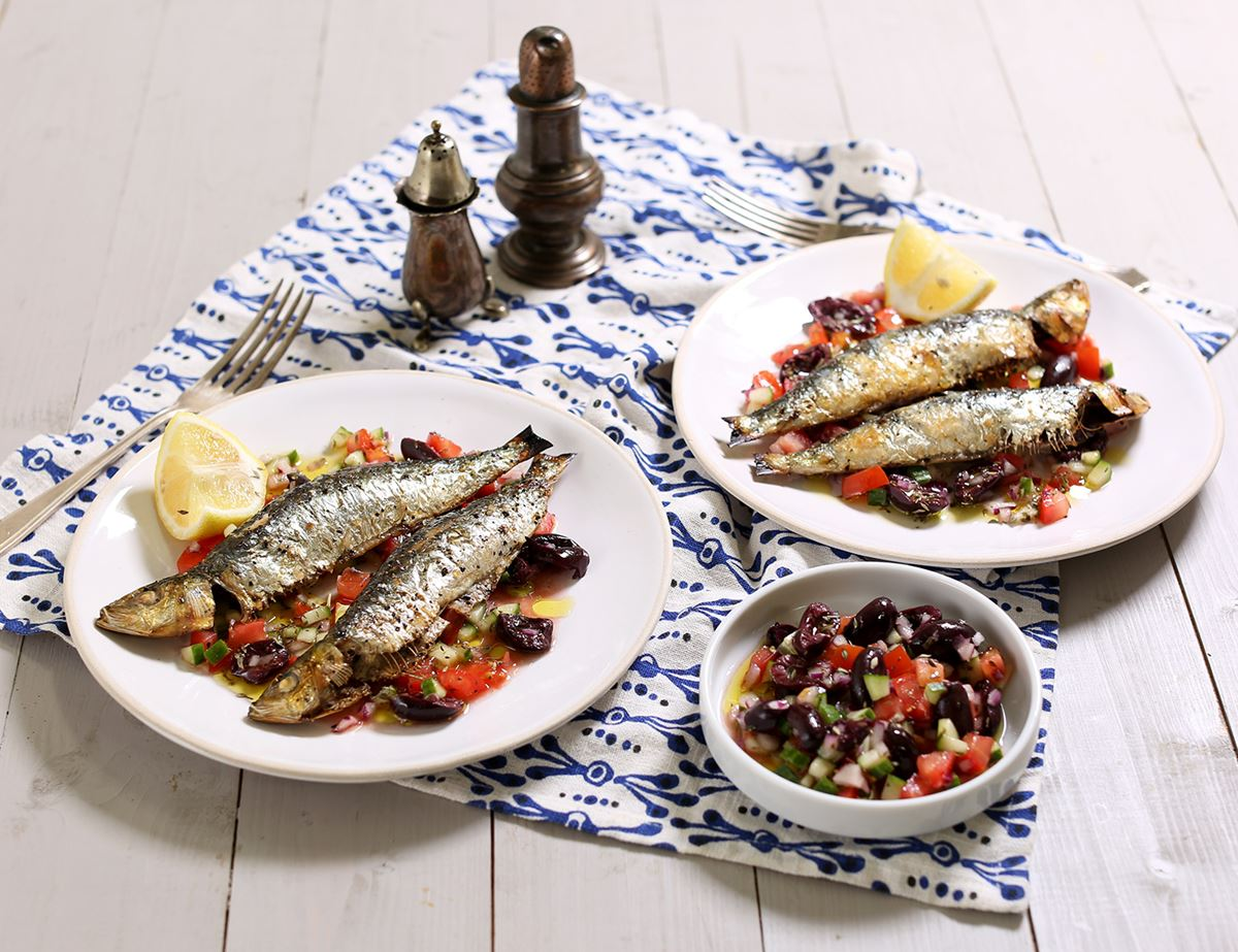 Grilled Sardines with Greek Salad Salsa