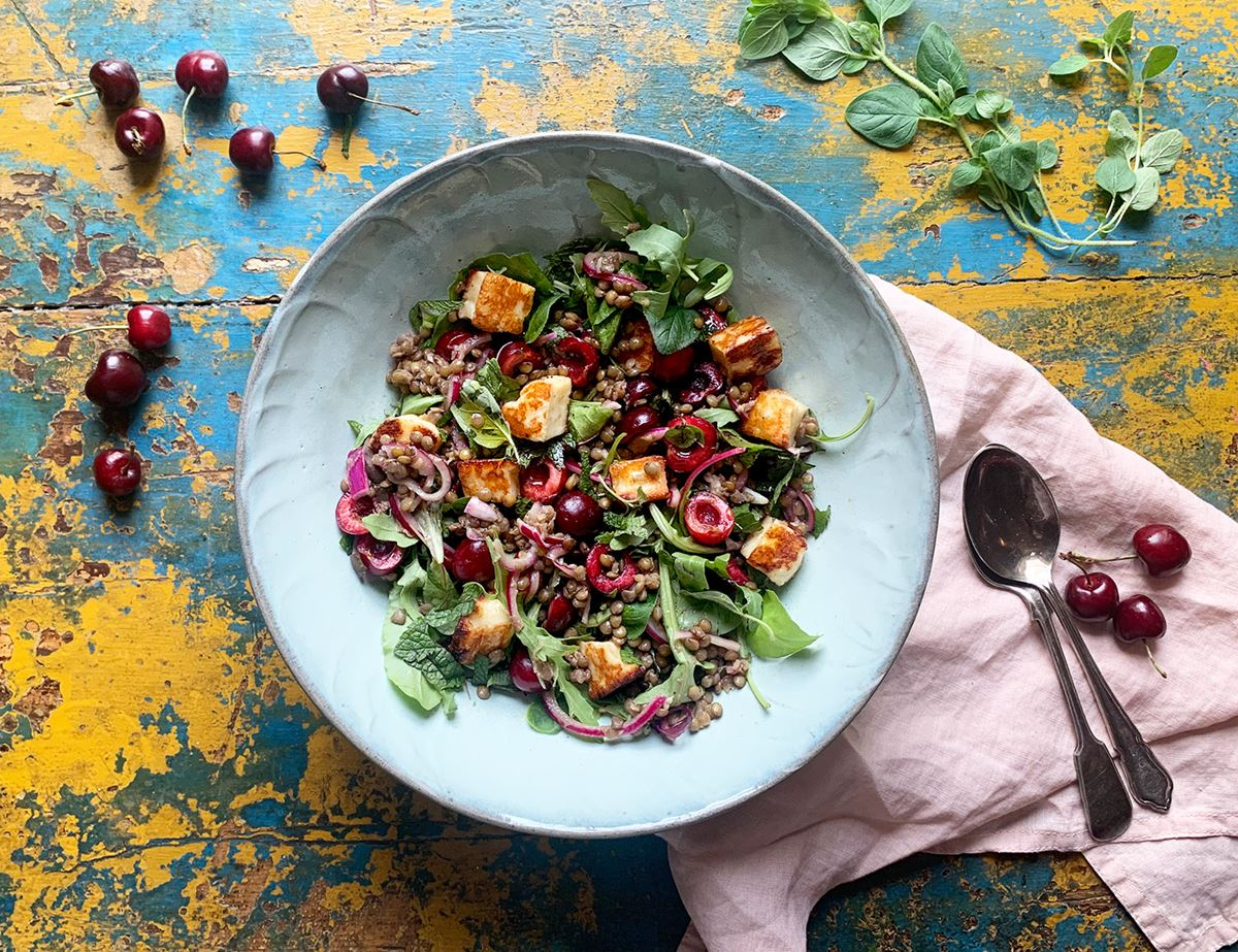 Warm Halloumi, Cherry and Lentil Salad