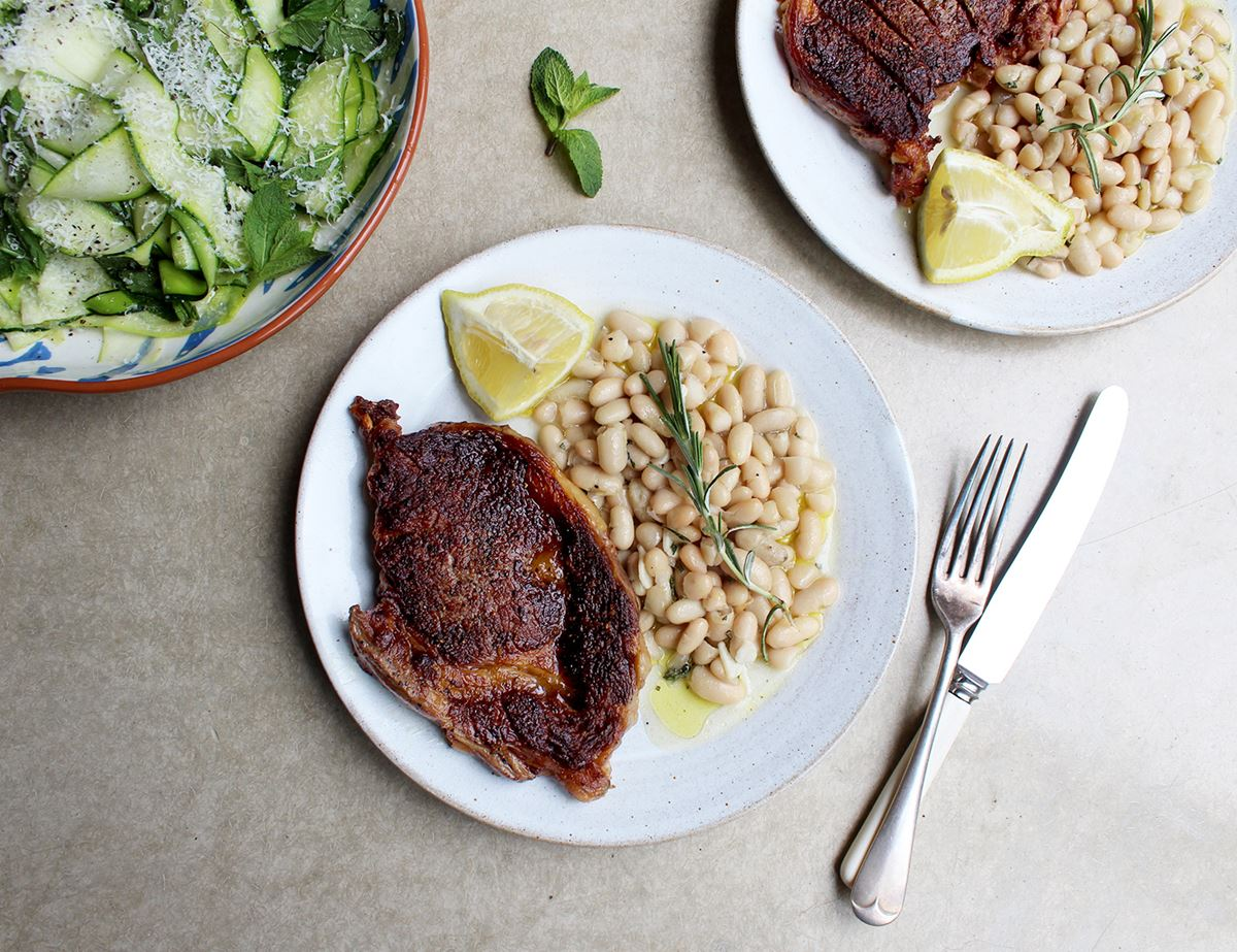 Italian Steaks with Beans & Courgette Salad