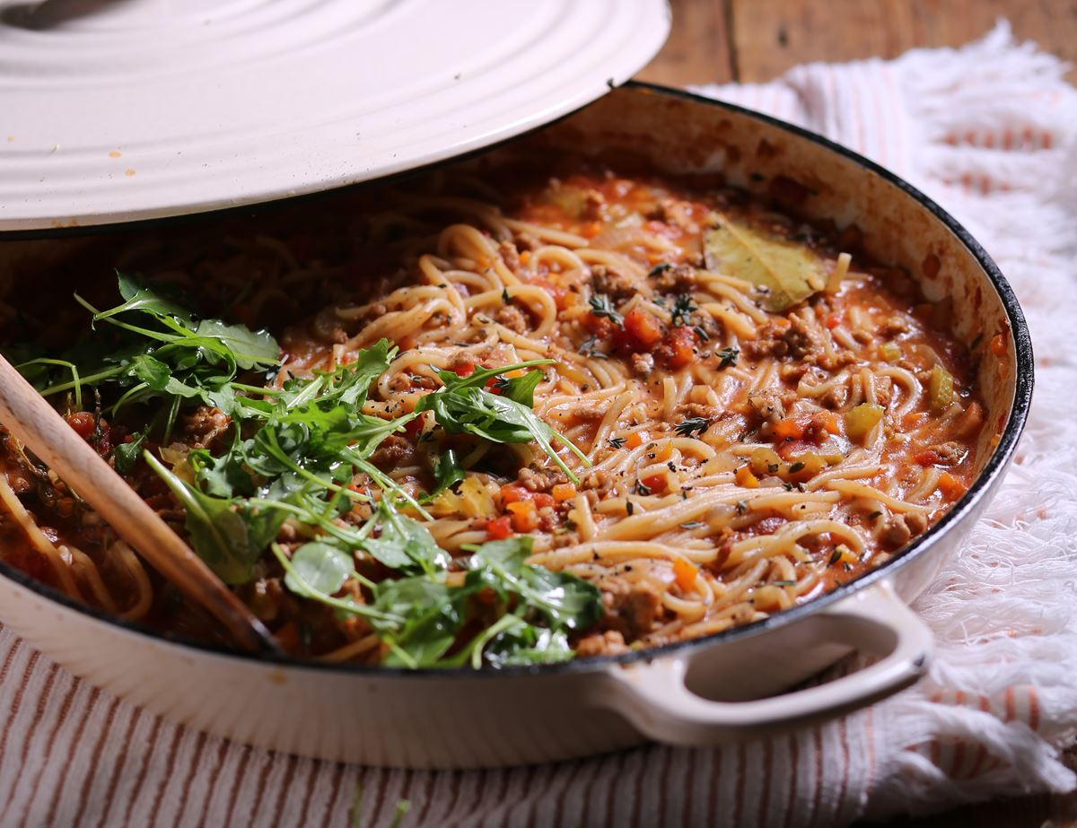 One Pot Spaghetti with Pork Bolognese