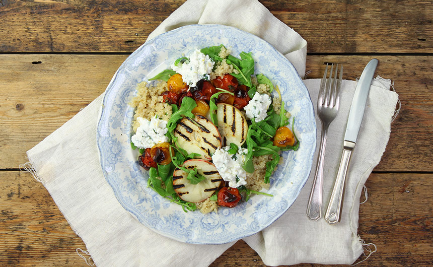 Organic Griddled Peach, Heirloom Tomato & Ricotta Salad ...