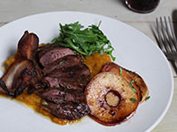 Spiced Pigeon Breasts with Apple, Bacon & Squash