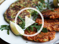 Spiced Veggie Fritters with Yogurt Dip