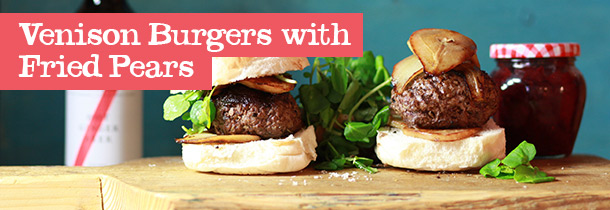 venison-burgers-with-fried-pears