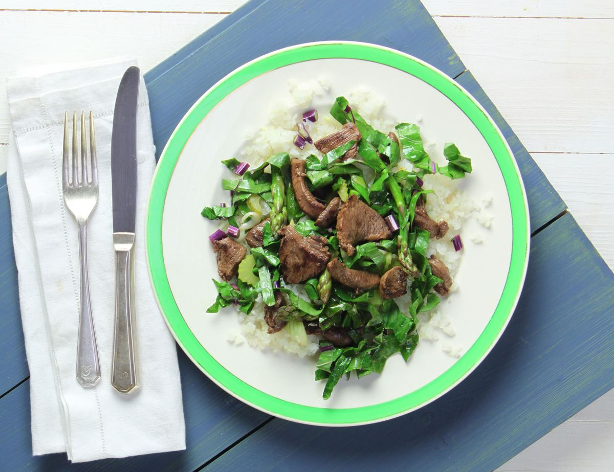 Stir-Fried Venison with Kohlrabi Rice