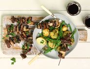 Venison & Mushroom Skewers with Potato Patch Salad