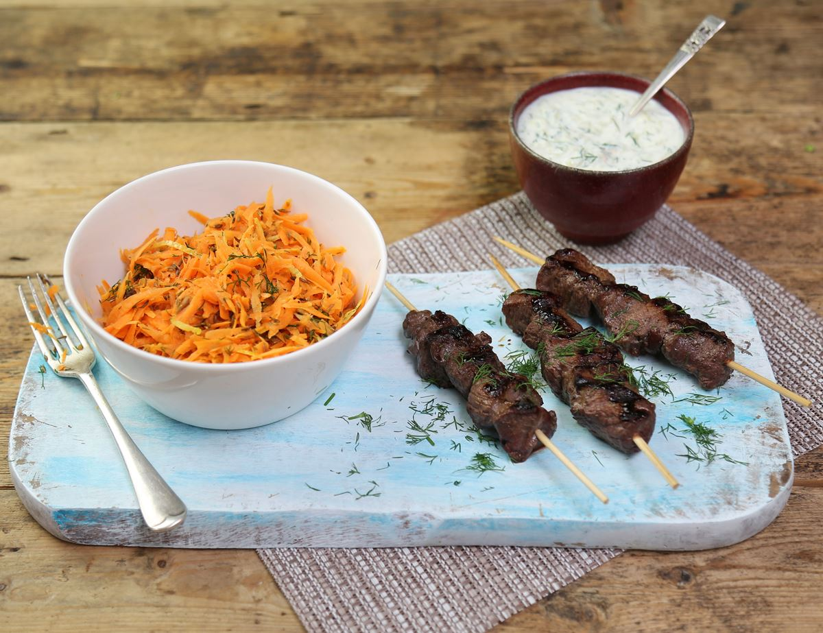 Venison Kebabs with Smokey Tzatziki