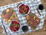 Wild Venison Steaks with Pear & Beetroot Slaw