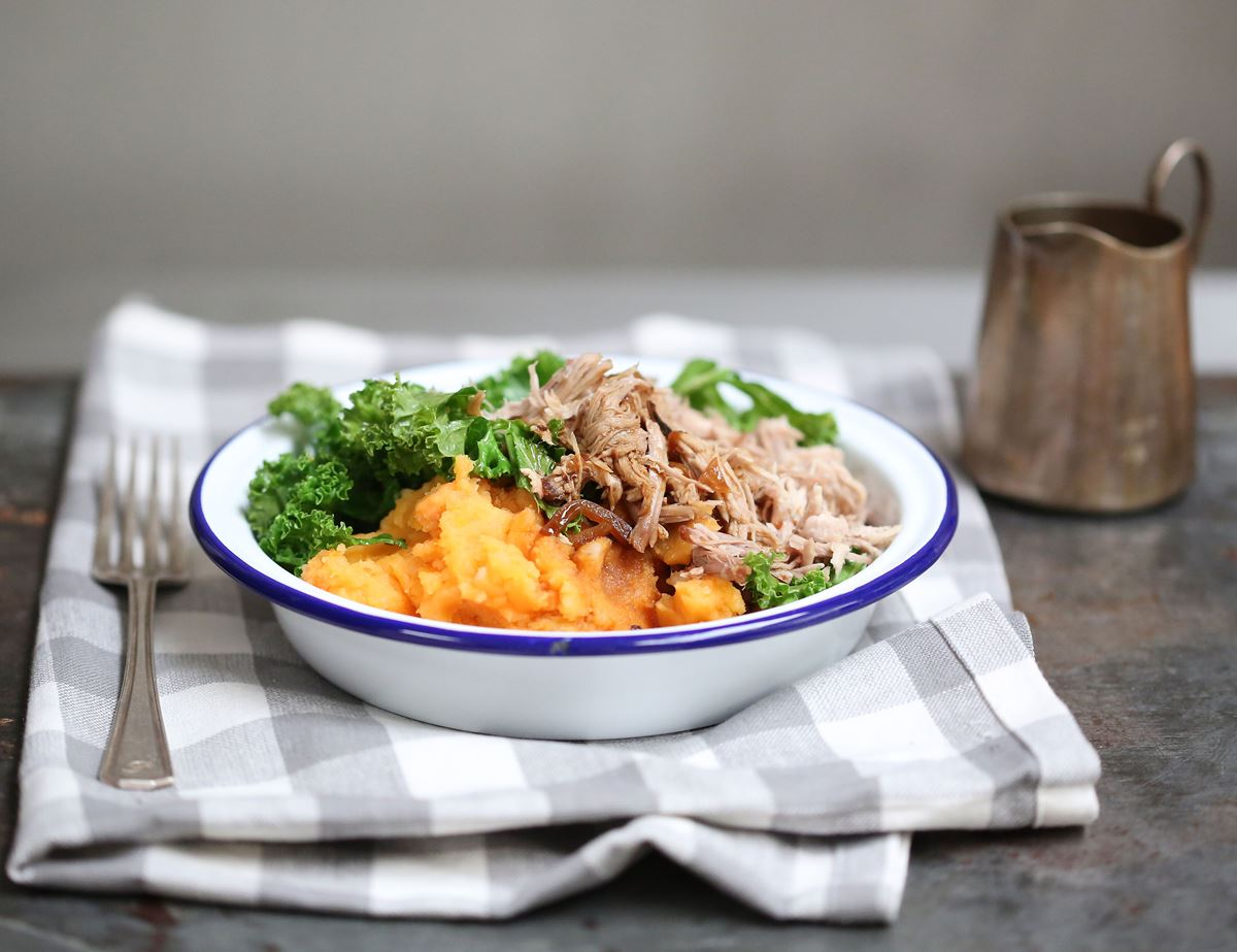 Pulled Pork with Garlicky Greens, Smashing Mash