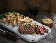 Rump Steaks with Celeriac Chips & Blue Cheese Sauce