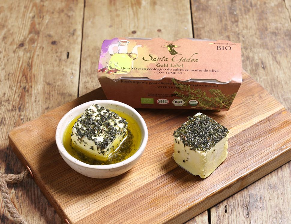 organic gold label goats cheese with thyme santa gadea