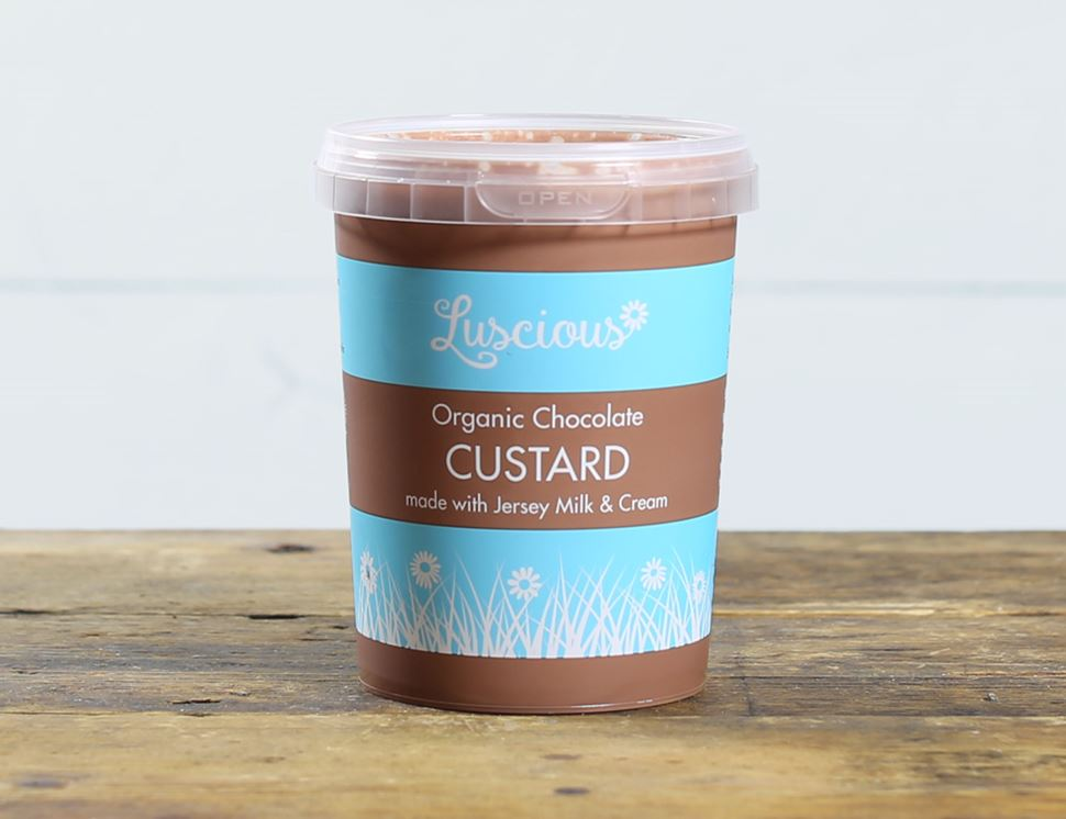 organic chocolate pouring custard
