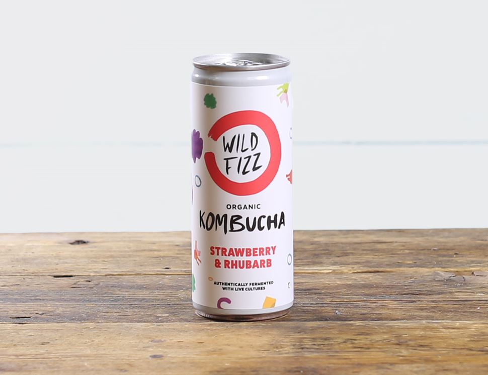 strawberry and rhubarb kombucha wild fizz