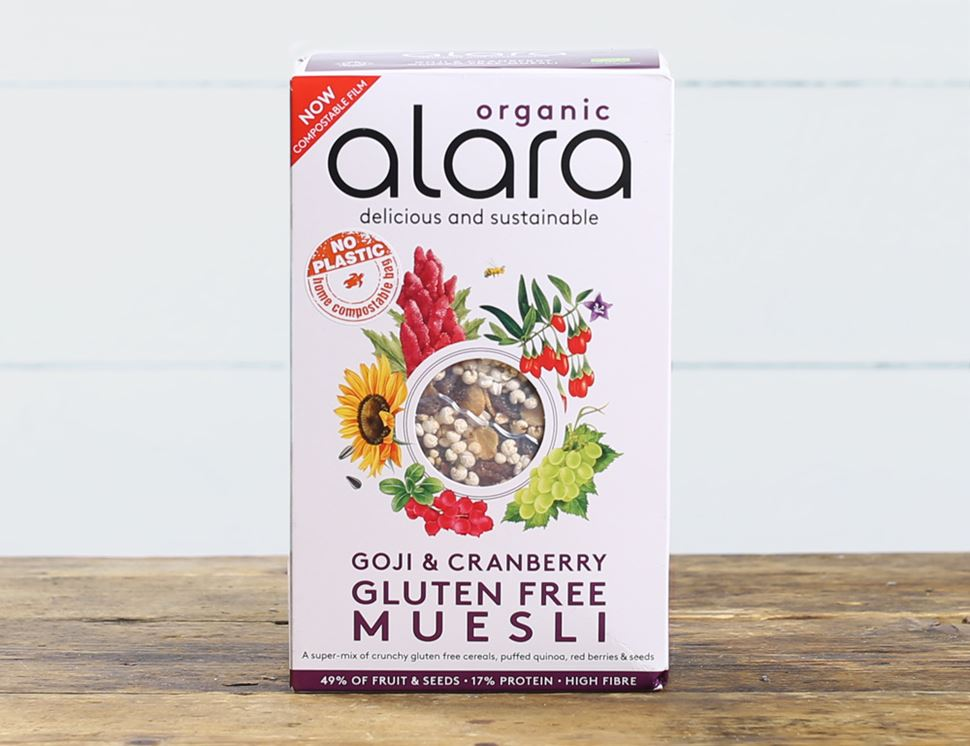 organic goji and cranberry muesli alara