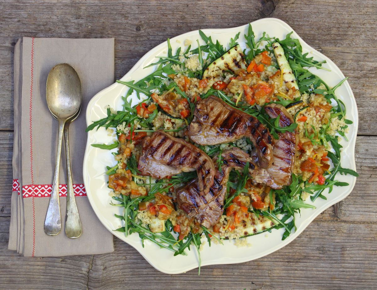 Lamb Chops with Smoked Aubergine Salad