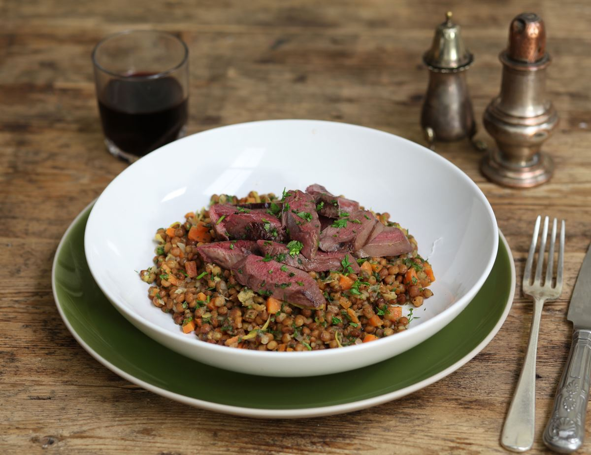 Warm Pigeon & Green Lentil Salad