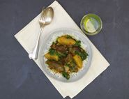 Pigeon Korma with Jerusalem Artichokes & Spinach