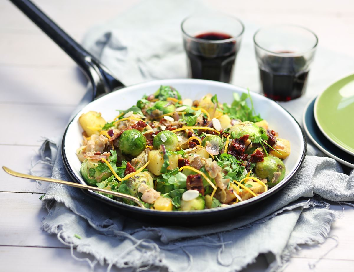 Caramelised Orange Brussels Sprout & Pancetta Stir-Fry