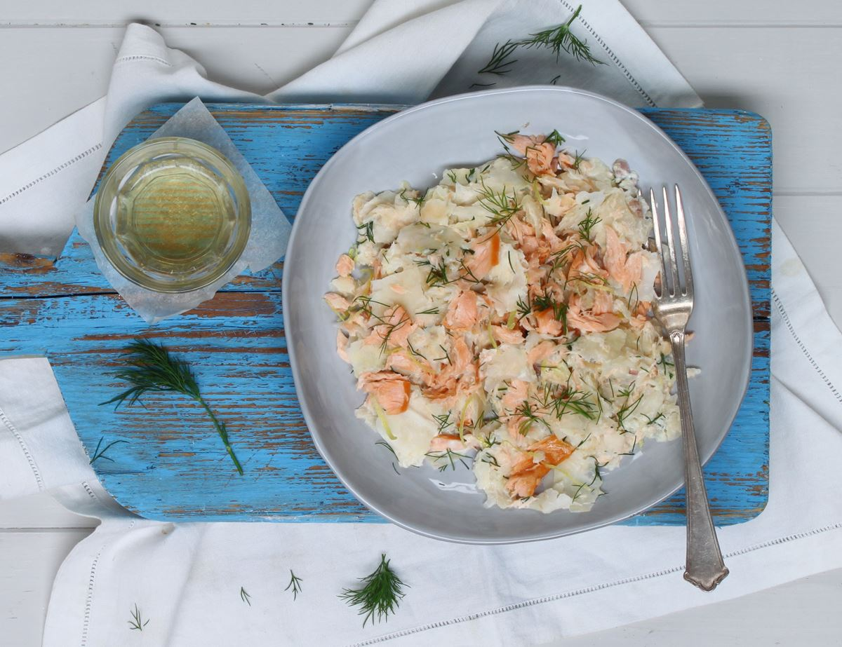 Celeriac Noodles with Salmon & Dill