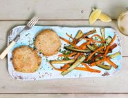 Fish Cakes with Carrot & Courgette Chips
