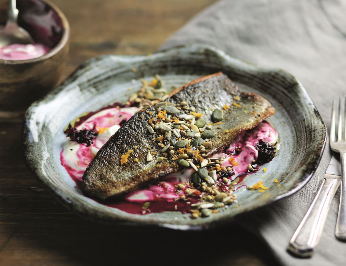 Trout with Orange, Seeds & Beetroot Rippled Yogurt