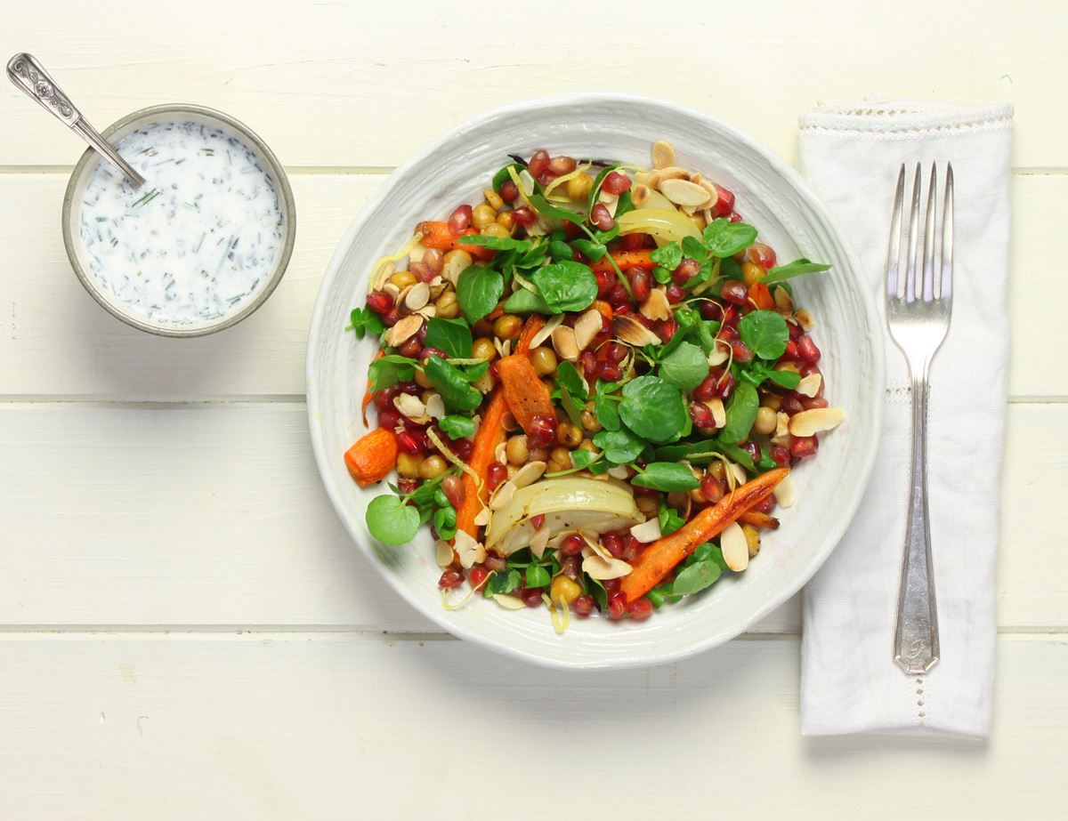 Warm Winter Carrot & Pomegranate Salad with Kefir Dressing
