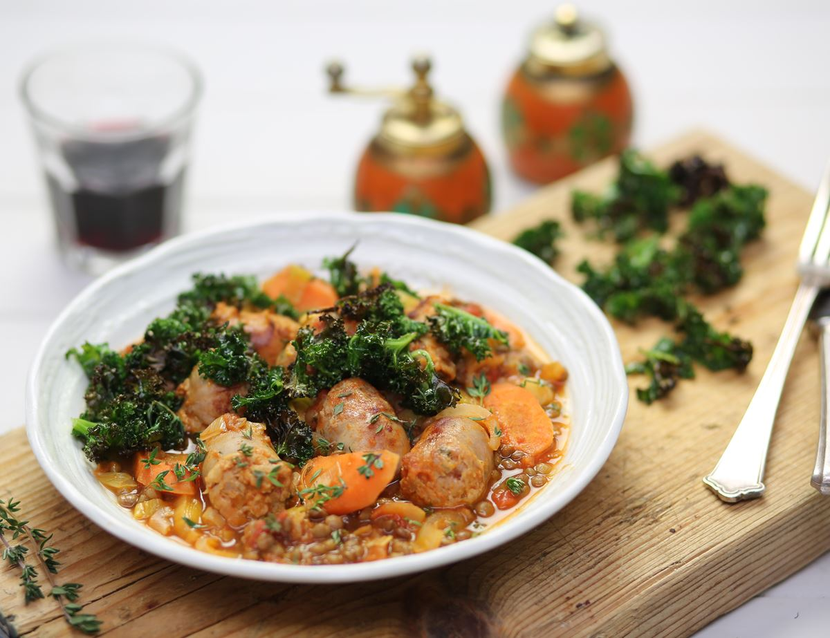 Sausage & Tomato Cassoulet with Crisp Kale Chips