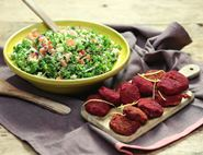 Beetroot & Butter Bean Falafels with Chopped Salad