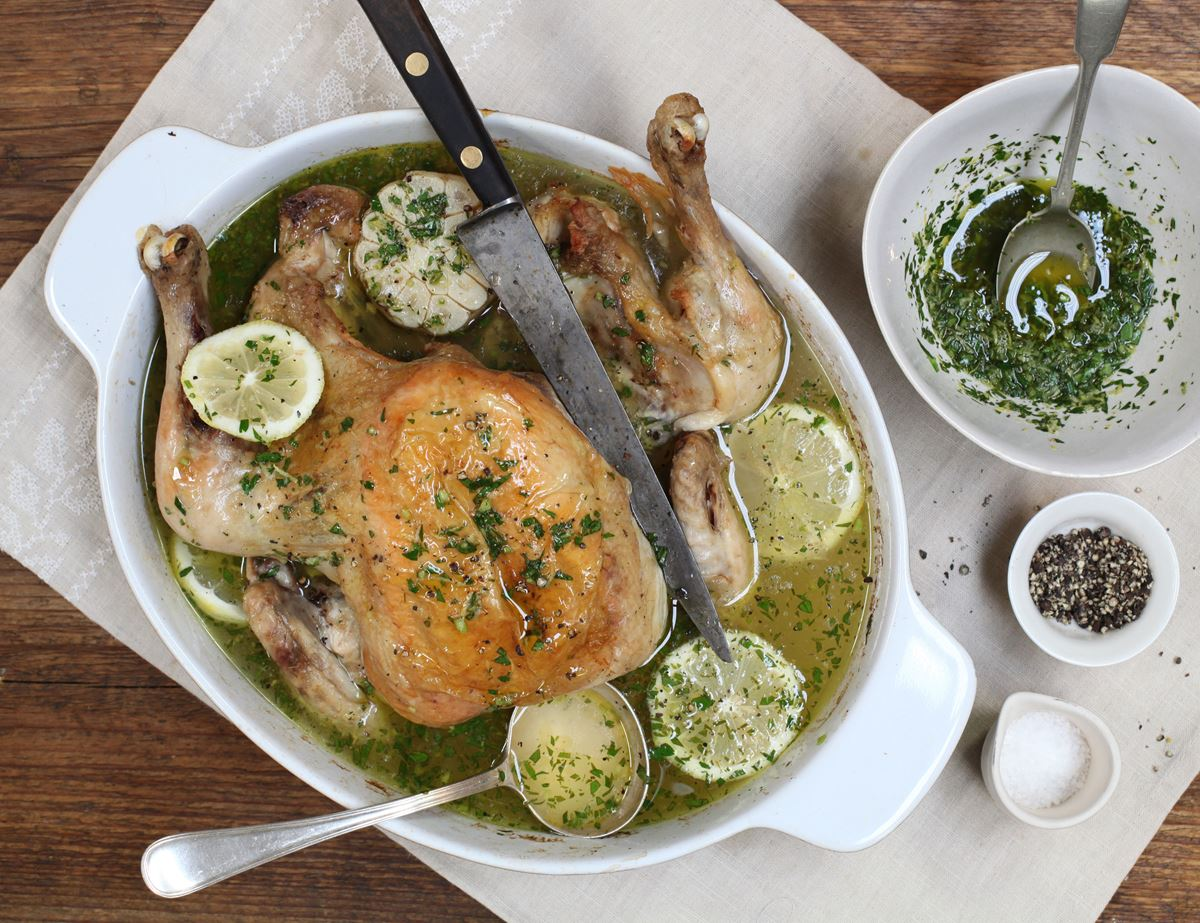 Poached Chicken with Wild Garlic Gremolata Broth