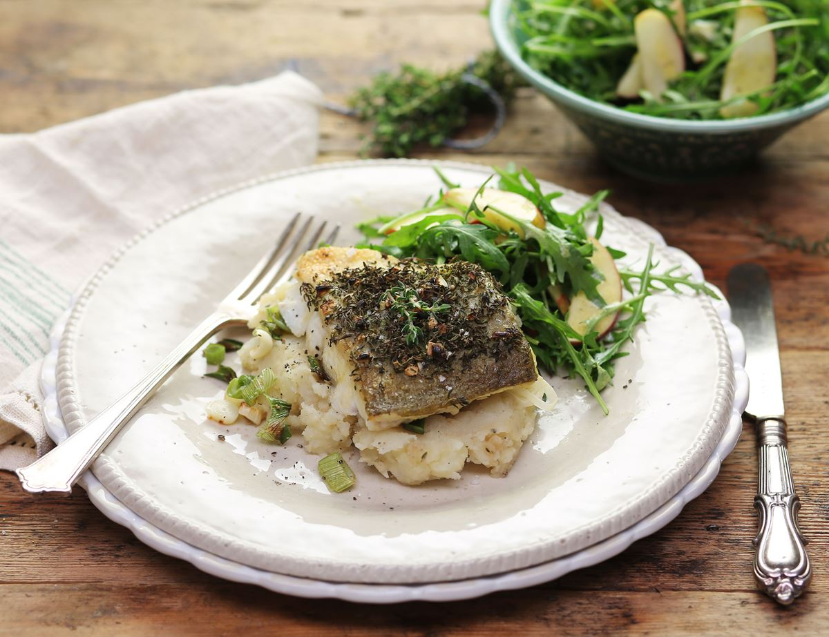 Thyme-Crusted Cod with Apple Celeriac Champ