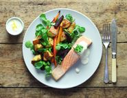 Roast Salmon with Horseradish Crème Fraîche & Winter Roots