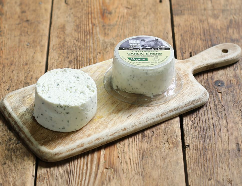 Sussex Slipcote Garlic & Herb Sheep's Cheese, Organic, High Weald Dairy (100g)