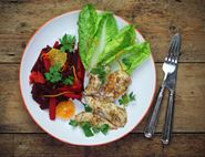 Dukkah Crusted Chicken with Braised Beetroot & Carrot Salad