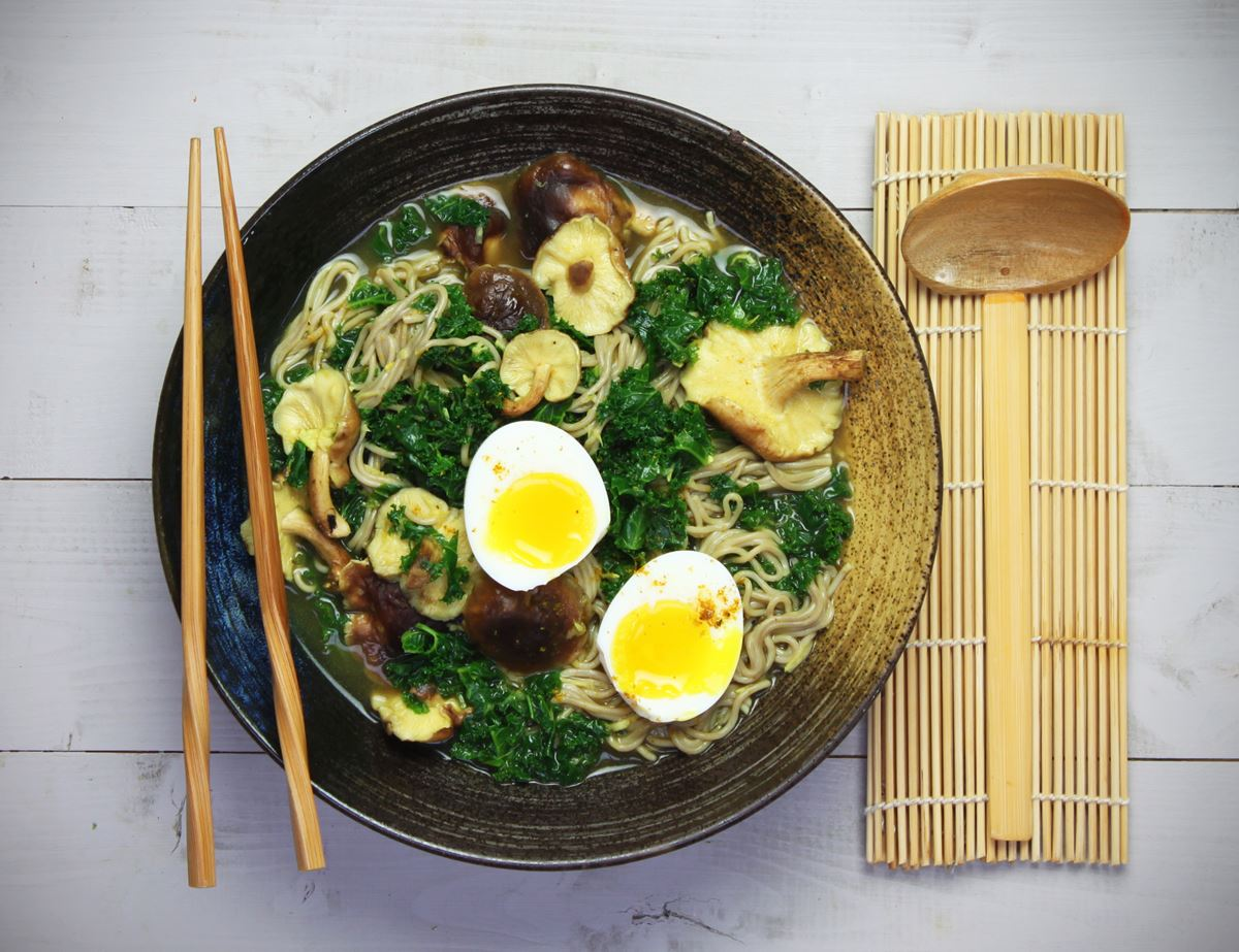 Curried Noodle Soup with Shiitake & Kale