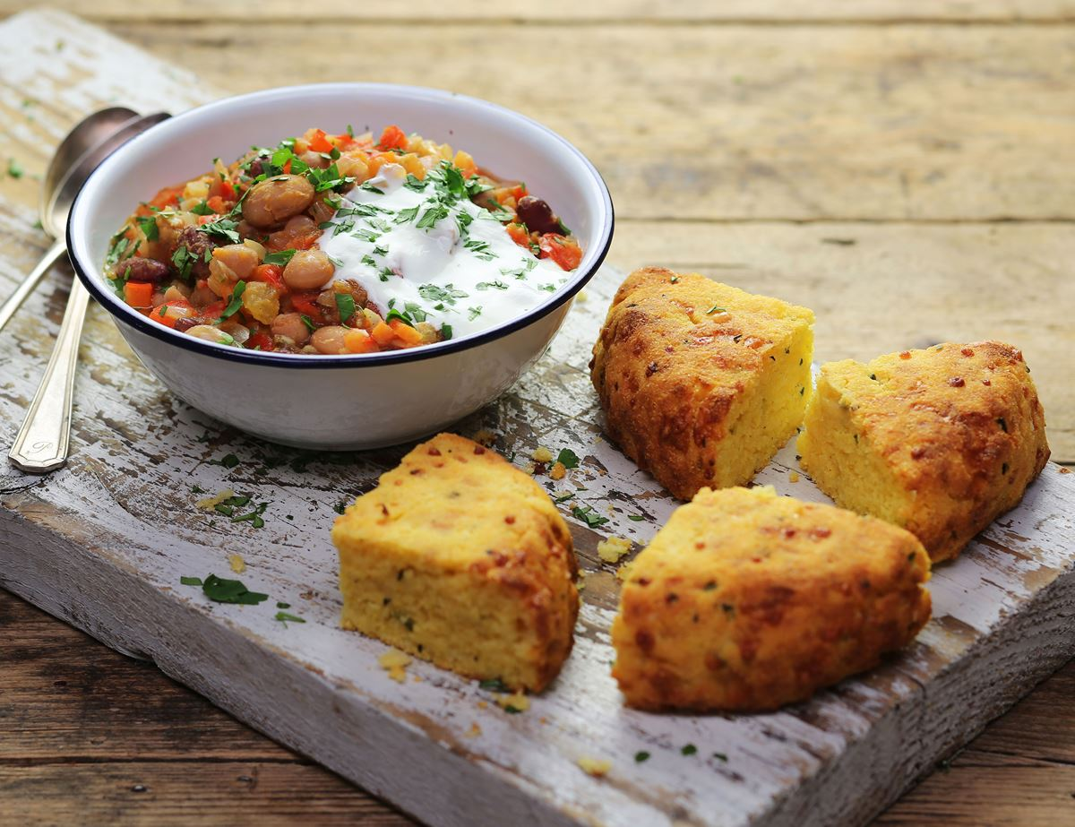 Mixed Bean Chilli with Cheesey Chilli Cornbread