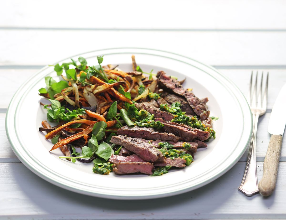 Peppered Steaks with Shoestring Potatoes & Watercress Dressing