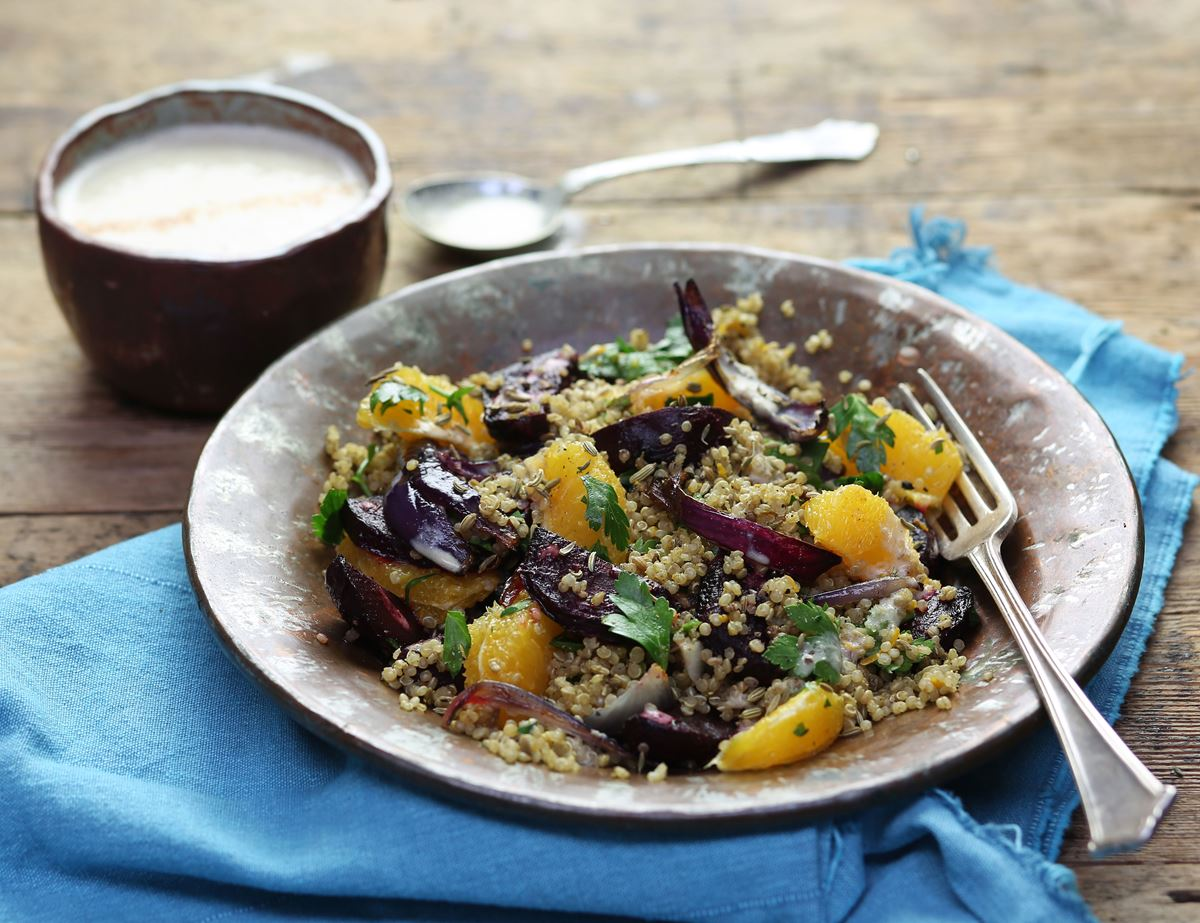 Moroccan Quinoa with Date & Tahini Dressing