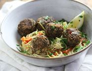 Courgette & Mint Polpette with Buttered Tomato Spaghetti
