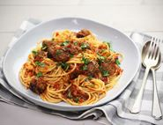 Meatballs & Spaghetti with Roast Pepper Sauce