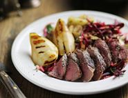 Wild Venison Steaks with Caramelised Pears & Beetroot Slaw