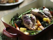 Herbed Lamb Steaks with Roast Veg
